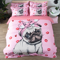 Bulldog Bedding Set pink and white Quilt Cover With Pillowca...