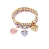 3 pz / set albero di vita braccialetti di fascino austriaco strass oro argento rosa 3 colori elastico catena braccialetto per le donne gioelleria raffinata e alla moda regalo