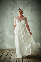 Plus Size Wedding Dresses With Half Sleeves Sheer Jewel Neck...