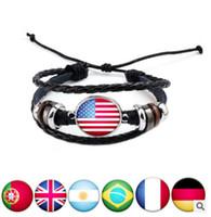 Braccialetto di cuoio d'annata patriottico dei monili dei braccialetti di fascino del braccialetto di cuoio nazionale 2018 della tazza del mondo diy tessuti tessuti a mano trasporto libero