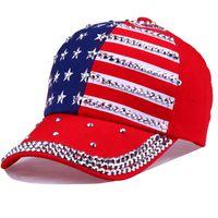 Mode Casual Casquette Femmes Casquette De Baseball Femmes Étincelle Strass USA Drapeau Américain Patriotique Casquette De Baseball Chapeau