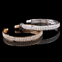 Stile arabo 2015 a buon mercato In Stock Strass 2 Bang Bangle bambini Prom donne sera festa nuziale gioielli braccialetto accessori da sposa 1514