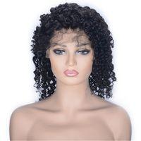 البرازيلي العذراء الشعر الرباط الجبهة الباروكات قبل التقطت قصيرة غريب مجعد شعر مستعار للنساء السود اللون