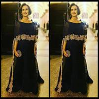 2018 bleu marine mère de la mariée robes bijou cou demi manches avec Wrap or dentelle appliques en mousseline de soie robe de soirée robe de soirée