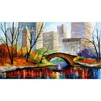 Central Park New York Olieverfschilderijen op canvas handgeschilderde decoratieve kunst abstracte foto voor muur decor