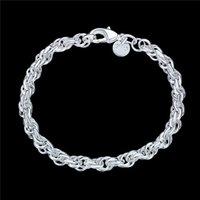Bracelet en argent de 2925 de la dame de la femme de pop-corn ronde JSPB513; Nouvelle Arrivée Femme Sterling Sterling Argent Plaqué Chain Link Bracelets