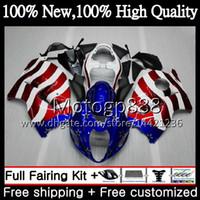 Karosserie für SUZUKI Hayabusa USA Flagge Blau GSXR1300 96 97 98 99 00 01 56PG GSXR 1300 GSX R1300 GSXR-1300 02 03 04 05 06 07 Verkleidung Karosserie