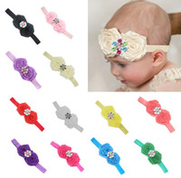 Baby Headwear Girls Lace Mix 2 Rose Flower colorful rhinston...