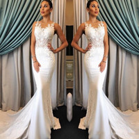 2018 Simple White Ivory Mermaid Beach Wedding Dresses Jewel ...