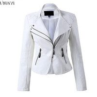 Wholesale- LXUNYI White Black PU leather Motorcycle jacket Women 2017 Autumn Short Slim Zipper Coat Plus Size Ladies leather jackets Faux