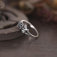 Crafted Rose Rings For Girls Ladies Antique Silver S925 Flow...