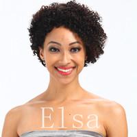 Top quality perucas do laço Celeb Afro kinky onda Glueless Cap 8 polegada natural Remy Indiano cabelo humano acessível máquina regular feito curto peruca