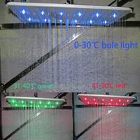 호텔 사용 천장 비 샤워 10x14 Inhces 직사각형 Inox 반짝이 완료 LED 수력 조명 샤워 강우량 최대