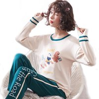 Pajamas Sets Women Pajama Set Cartoon pajama Women Long Sleepwear Костюм Homewear pijama Главная femme sexy M to 2XL