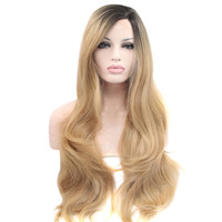 Fashion Women Wigs Natural Wave Wigs Blonde Synthetic Lace F...