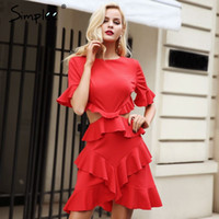 Simplee Elegant hollow out sexy dress women 2017 Ruffle flar...
