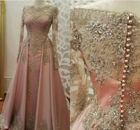 New Rose robes de soirée pour les femmes Porter Jewel cou à manches longues en dentelle cristal bling perles Appliques Plus Size Prom Party Robes Robes HY123