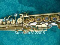 Özel Serisi Güzel Soprano B Düz Saksafon Pirinç Düz Boru Gümüş Kaplama Altın Anahtar B (B) Ton Sax ile Vaka Ücretsiz Kargo
