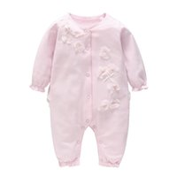baby girl clothing romper round collar long sleeve stereo fl...