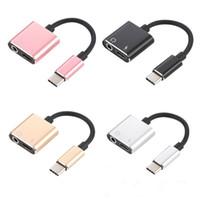 2in1 Tipo C Adaptador Adaptador De Carregamento De Cabo De Áudio Aux USB Tipo C para 3.5mm Jack Para Xiaomi Mi 6 Huawei sem 3.5 jack
