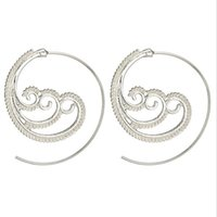 2018new Ethnic Personality Round Spiral Earrings Exaggerated...