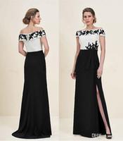겸손한 흰색과 검은 색 사이드 분할 신부 드레스 2018의 긴 어머니 Bateau 목 검은 Applique 지퍼 다시 웨딩 게스트 드레스