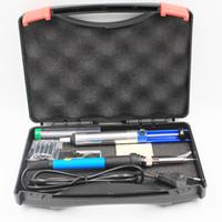 ЕС США Plug 60 Вт 220 В 110 в регулируемая температура электрический паяльник комплект с железными наконечниками присоски стенд пинцет припой проволока коробка