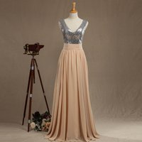 Sparkly Champagne Prom Dresses Sexy V- neck Pleated Backless ...