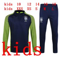 kids 2016 2017 brazil tracksuit Soccer training suit 16 17 D...