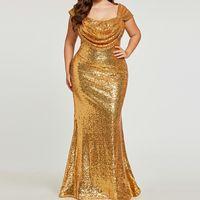 반짝 이는 황금 sequined 인어 야회복 플러스 크기 모자 소매 지퍼 위로 무도회 당 착용 형식적인 복장 sequins 야회복