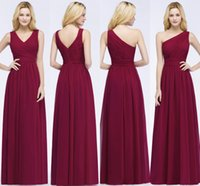 Burgundy One Shoulder A Line Bridesmaid Dresses 2 Styles Ruc...