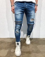 Knee Holes Jeans for Men Fashion Slim Fit Ripped Pencil Pant...
