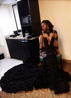 African Black Prom Dresses 2017 Mermaid Appliques Long Sleev...