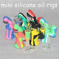 ¡Precio barato! Mini Burbuja Pequeño Tubo de agua de silicona Cenicero Cobre En línea Percolador Mano Bongs de vidrio Aceite Rig Mezcla de colores