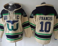 Hartford Whalers Hockey Men Jerseys 10 Ron Francis Hoodie Ho...