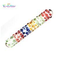 Colorido Dupla Cabeça De Vidro Dildo Pyrex Cristal Pênis Com Massagem Partícula Anal Butt Plug Brinquedos Sexuais Para A Mulher Adulto Produto