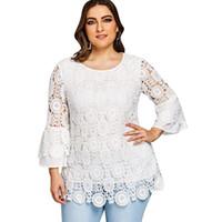 Gamiss 2018 여성 캐주얼 화이트 o 목 3 분기 블라우스 플러스 사이즈 레이스 플레어 슬리브 튜닉 탑 셔츠 Blusas 큰 크기 XL-5XL