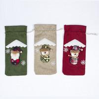 크리스마스 장식 산타 클로스 와인 병 커버 린넨 가방 눈사람 장식품 홈 파티 테이블 장식 선물