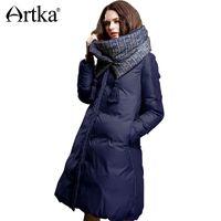 2019 Artka Chaqueta de invierno para mujer 90% Duck Down Coat 2018 Warm  Parka para mujer Chaqueta larga con capucha acolchada con bufanda extraíble  ZK15357D b1825dd7e76a