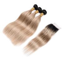 Dark Roots 1B 27 Tramas de cabello humano con cierre de parte libre Color de dos tonos Miel Rubio Cabello liso 3 Paquetes con cierre superior 4x4