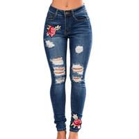 Frauen Stretch Hohe Taille Dünne Stickerei Jeans Ohne Zerrissene Frau  Floral Holes Denim Hosen Hosen Frauen 8bc08dd1b1