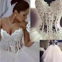 Robe de mariée de la robe à billes discount Sweetheart Corset Voir à travers la longueur de l'étage Longueur Princess Robes de mariée Perles Perles Perles Custom Custom Made Bridal