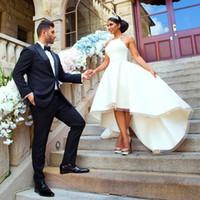 Weiß High Low Brautkleider Ärmellos Abgestufte Rüschen Brautkleider Zurück Reißverschluss Spaghetti Nach Maß Einfache Brautkleider