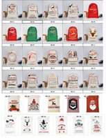 Рождественский подарок сумки санта мешки большой холщовый мешок на шнурке с оленями 35 цветов для детей принимают смешанные оптом и бесплатная доставка