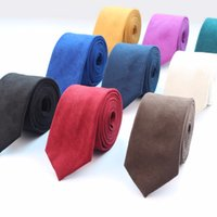 New Fashion Solid Micro Suede Ties Groom Leather Necktie Men...