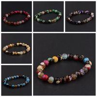 Transferência de Jóias na moda sorte Roxo Pulseira Chakra Yoga Beads Pedra Vulcânica 8mm Pedra Natural Beads Pulseiras Para As Mulheres