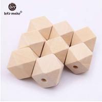 Hagamos Cuentas de madera de 20mm Cuentas espaciadoras 100pcs Cuentas de cuentas geométricas pendientes Para DIY Collar de madera 10mm 16mm