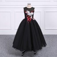 2018 Pretty Fairty Flower Girls Dress Cuello alto 3D Apliques florales Niñas Vestidos del desfile Lovely Hand Made Flowers Birthday Dress