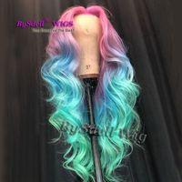 Pelucas de cabello coloreado Sintético Onda suelta larga ombre Rosa Azul pelo colorido Peluca delantera de encaje Sirena Cosplay fiesta pelucas pelucas para mujeres