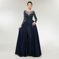 Vestidos de noite azul marinho sereia manga longa moda de luxo mulher formal vestidos de baile noite vestidos árabes
